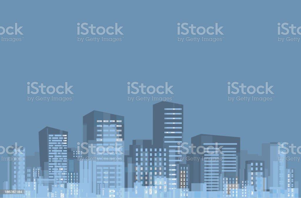 Vector of night city skyline. royalty-free stock vector art