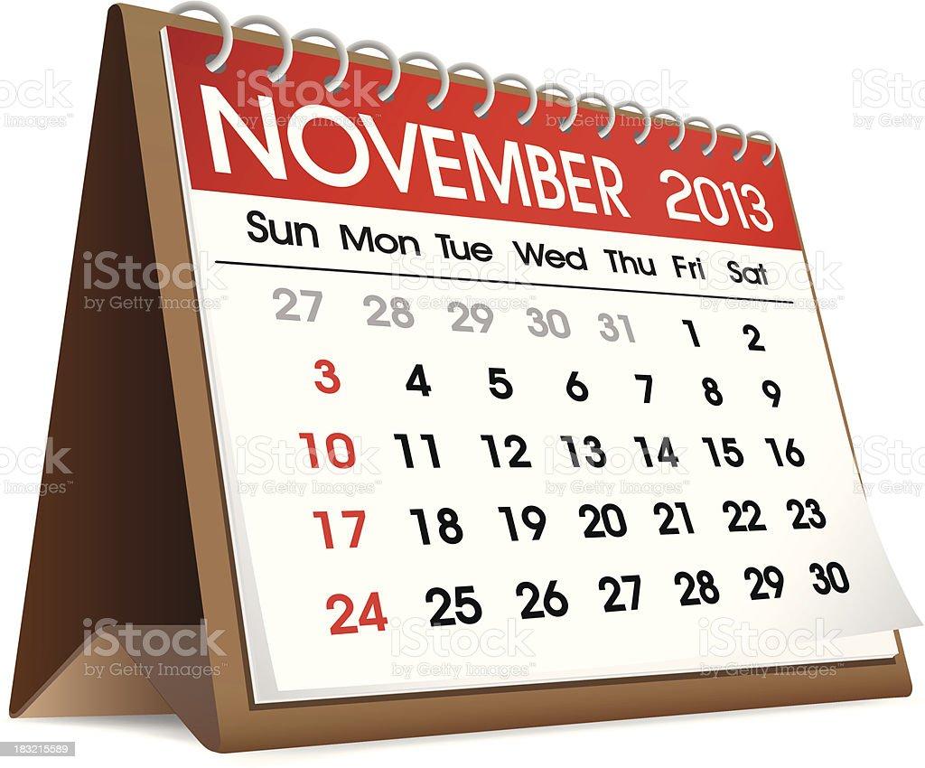 Vector of November 2013 Calendar royalty-free stock vector art