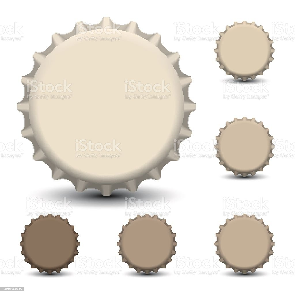 Vector of one large bottle cap and five small ones vector art illustration
