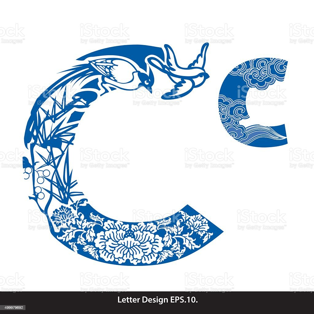 Vector of Oriental style alphabet tape C. Traditional Chinese vector art illustration