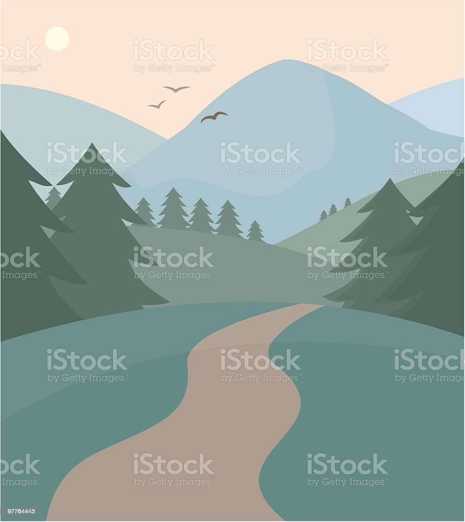 Vector of path leading through forest and mountains vector art illustration