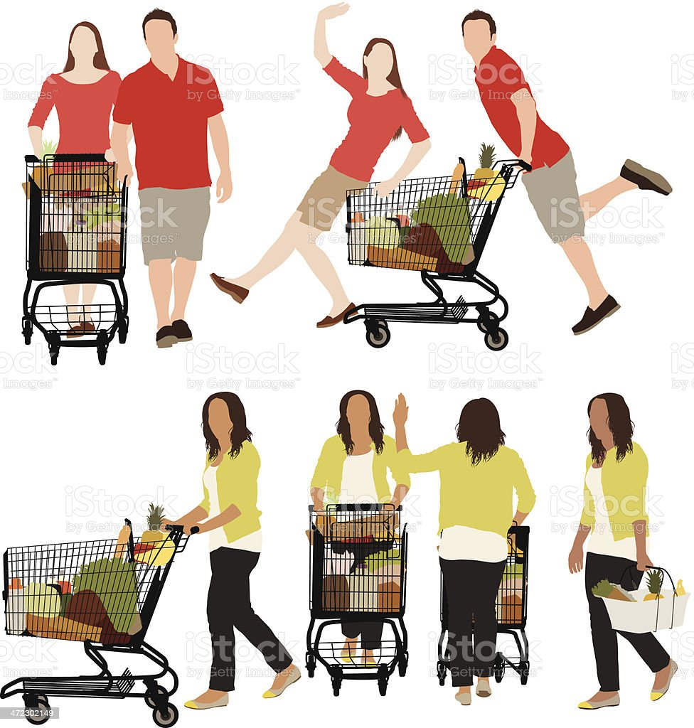 Vector of people in a supermarket royalty-free stock vector art