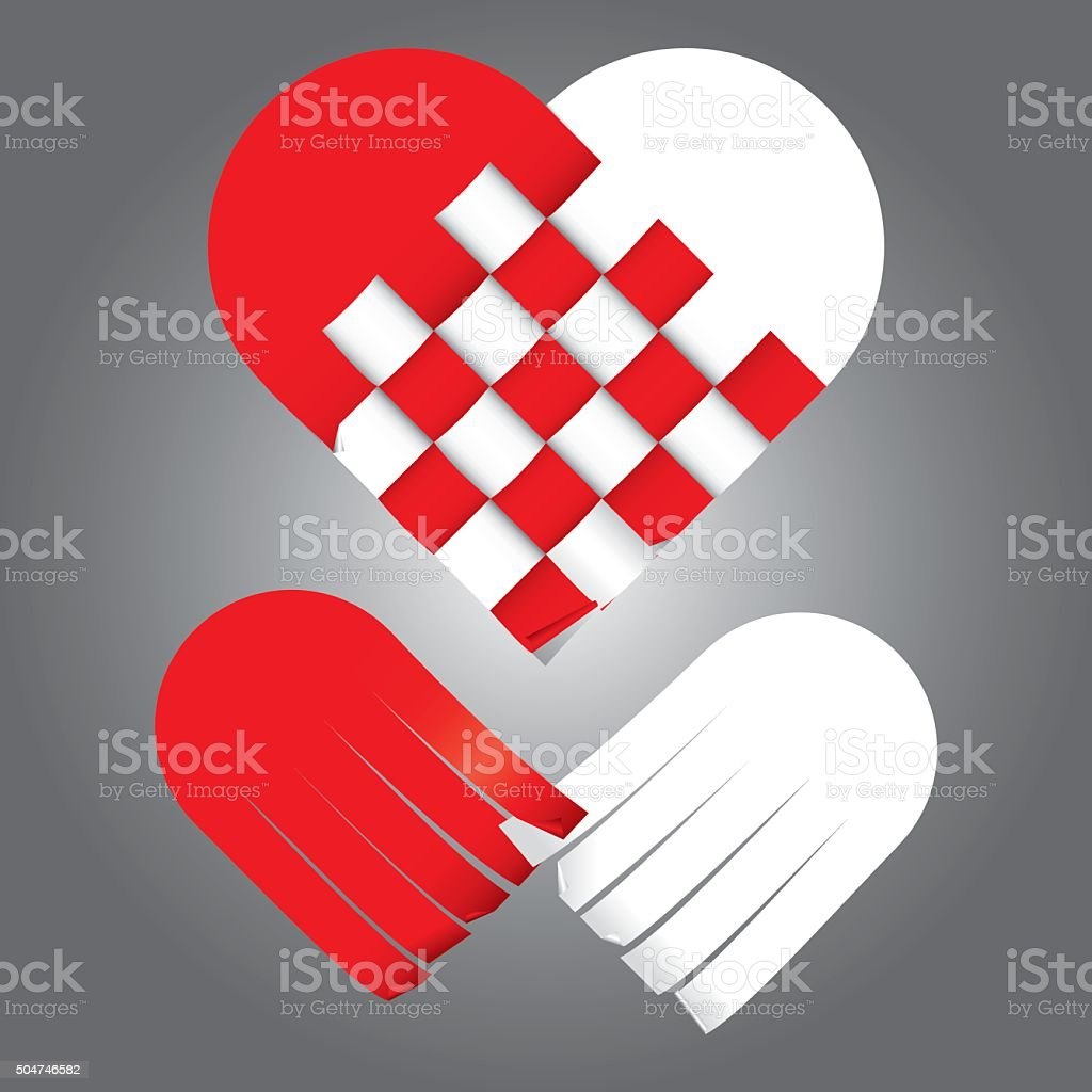 vector of plaiting two tones heart, red and white vector art illustration