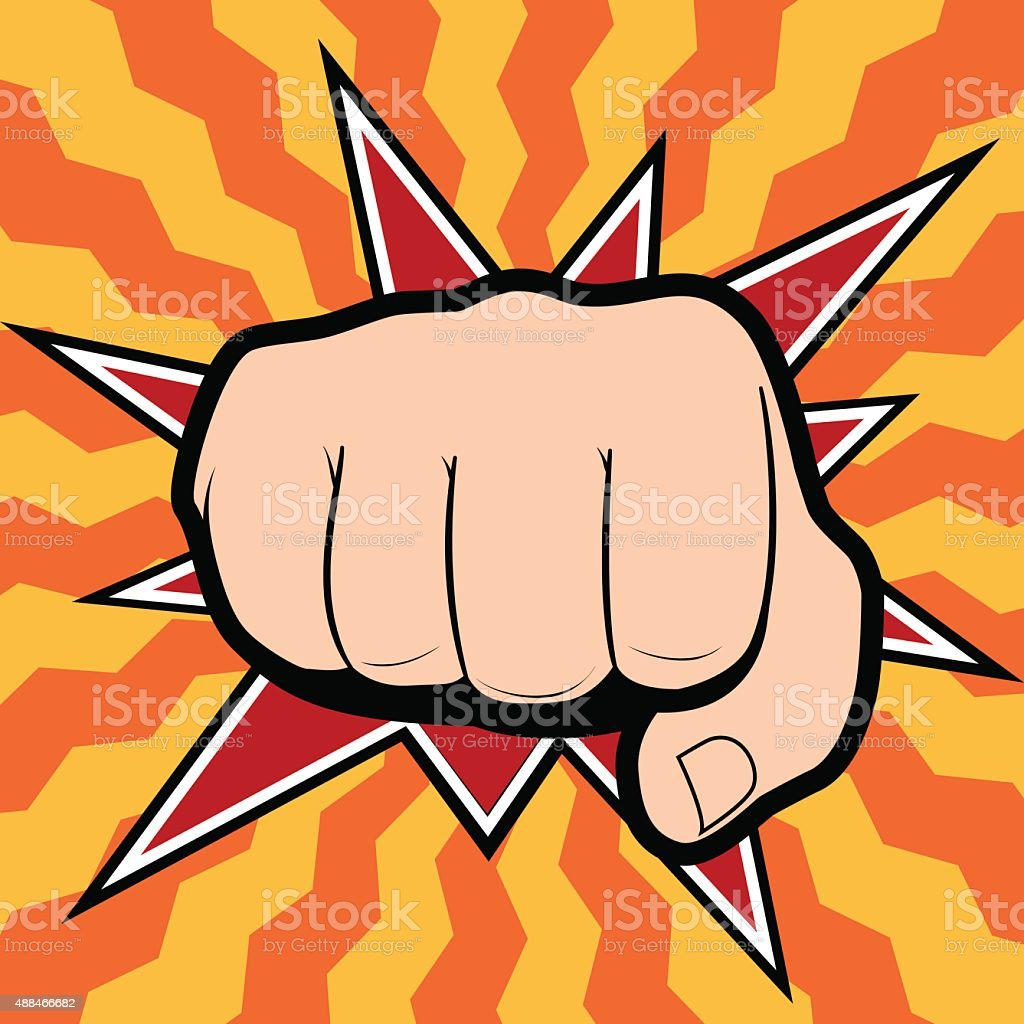 Vector of punching hand with a clenched fist aimed directly vector art illustration