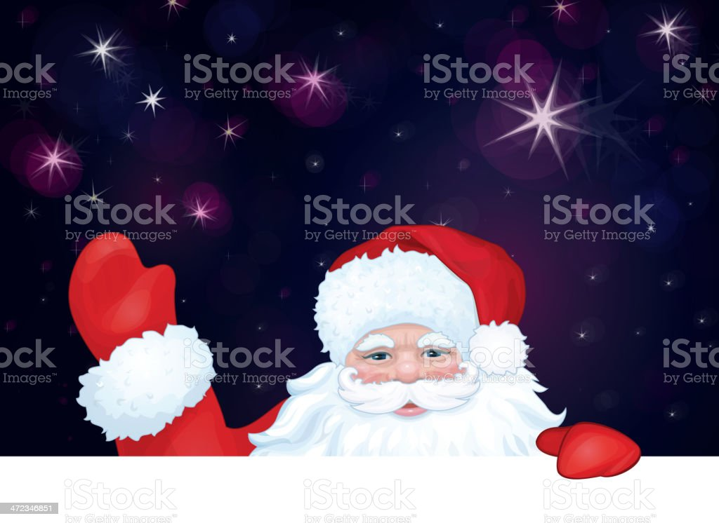 Vector of Santa Claus hiding by blank on sky background. royalty-free stock vector art