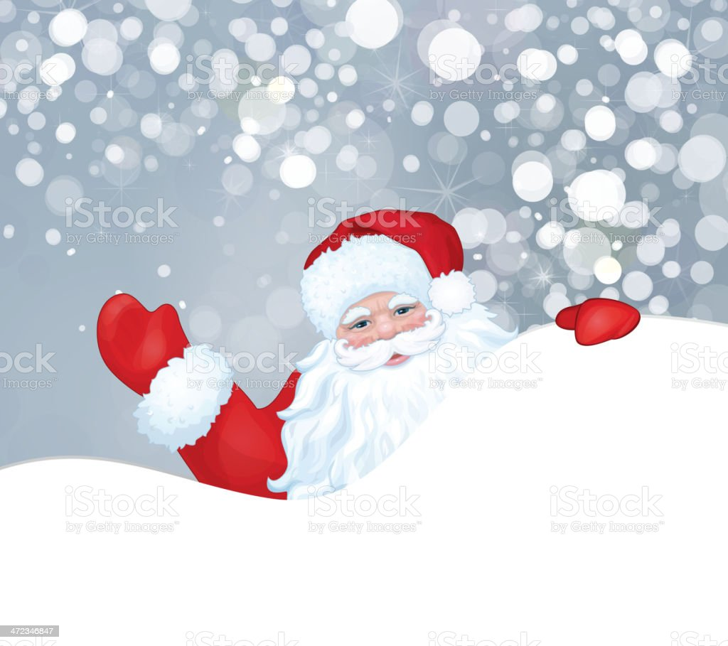 Vector of Santa Claus hiding by blank. royalty-free stock vector art