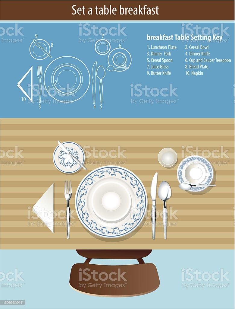 Vector of set a table breakfast vector art illustration
