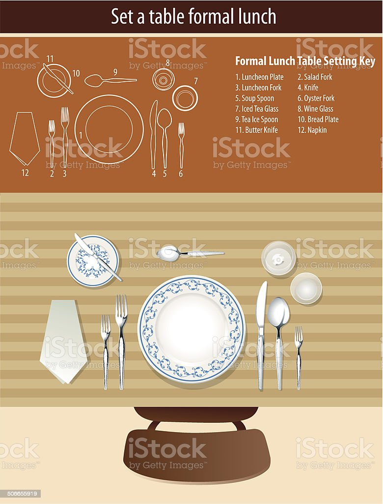 Vector of set a table formal lunch vector art illustration