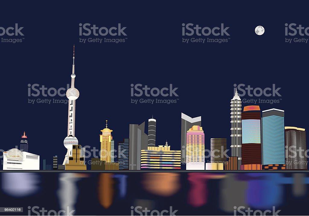 Vector of Shanghai night view vector art illustration