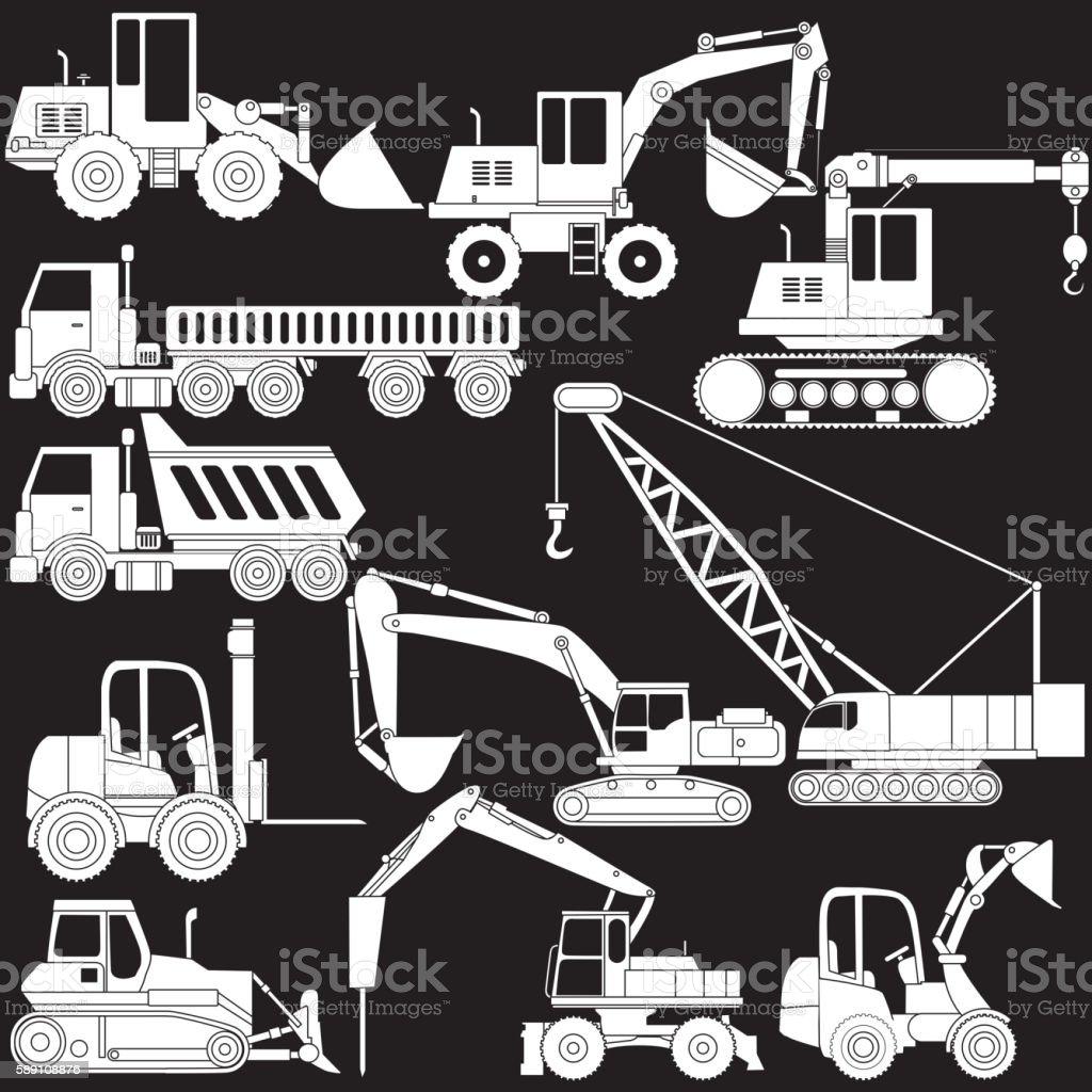 vector of shape construction vehicle vector art illustration