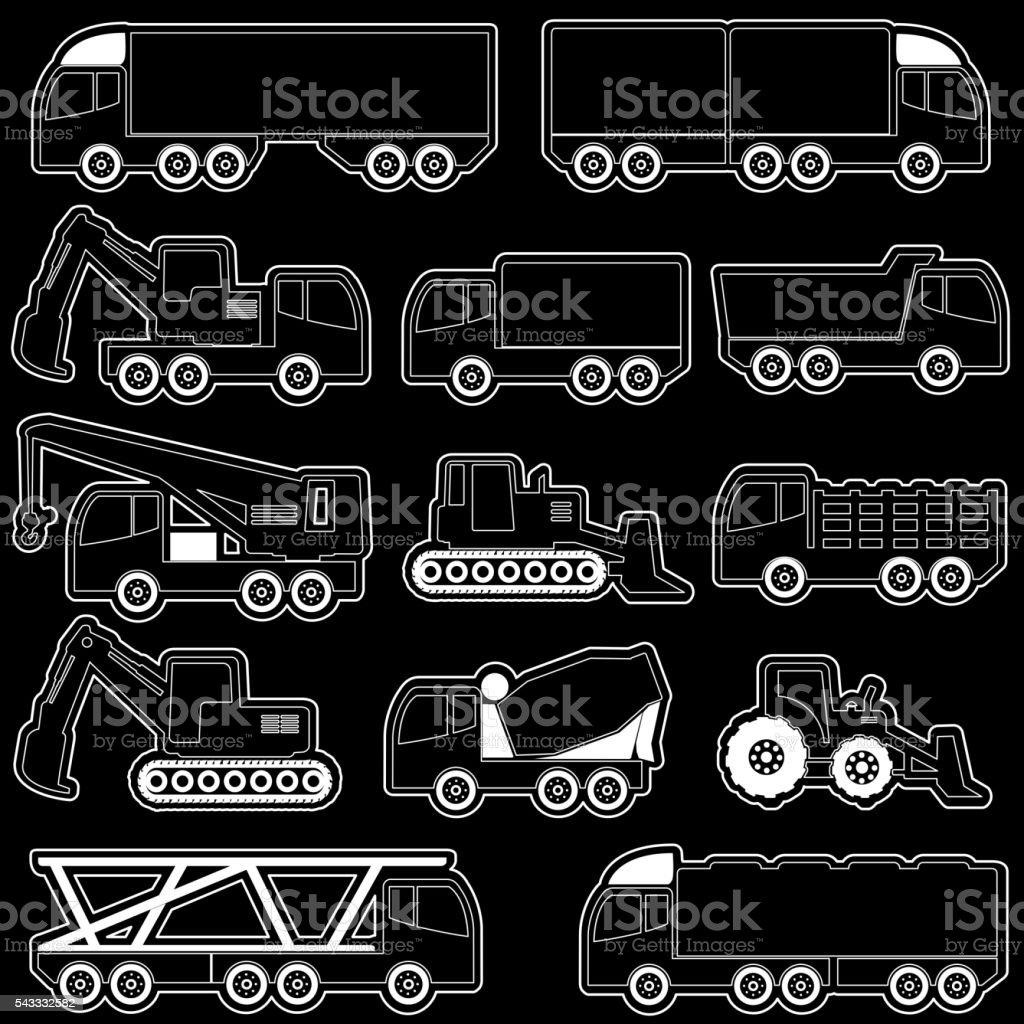 vector of shape heavy transportation vector art illustration