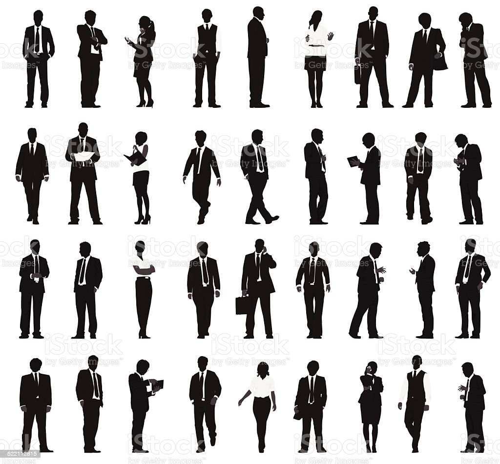 Vector of Silhouette Business People Working in a Row vector art illustration
