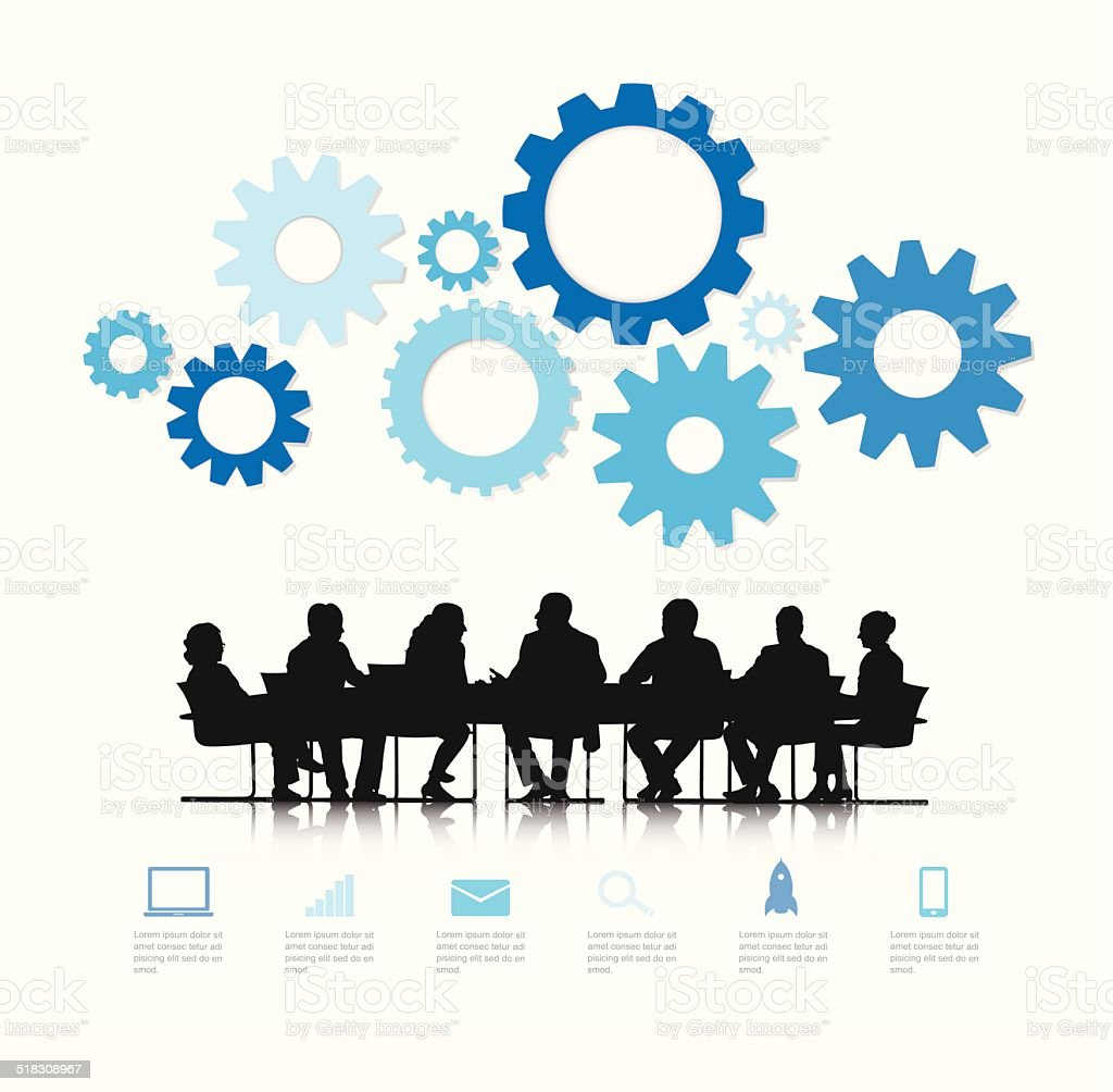 Vector of Silhouette Business Teamwork vector art illustration