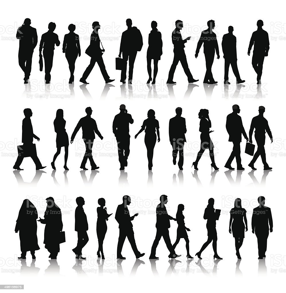 Vector of Silhouette of Business People Commuting vector art illustration