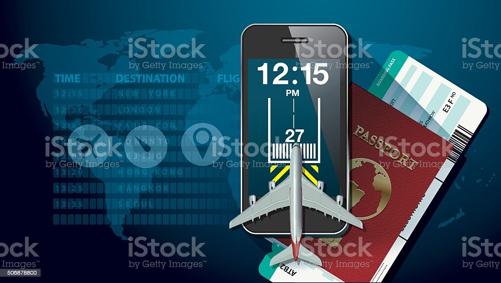 Vector of Tecnology for travel concept vector art illustration
