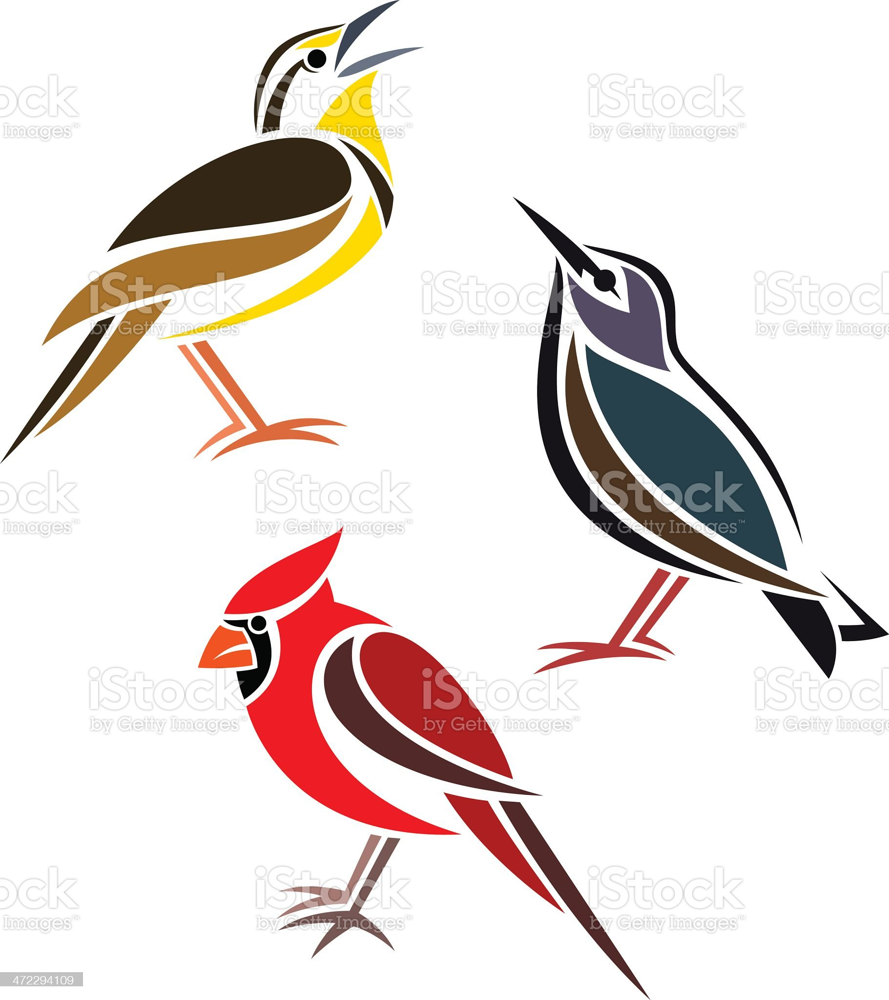 Vector of three birds, one yellow, one red and one blue royalty-free stock vector art