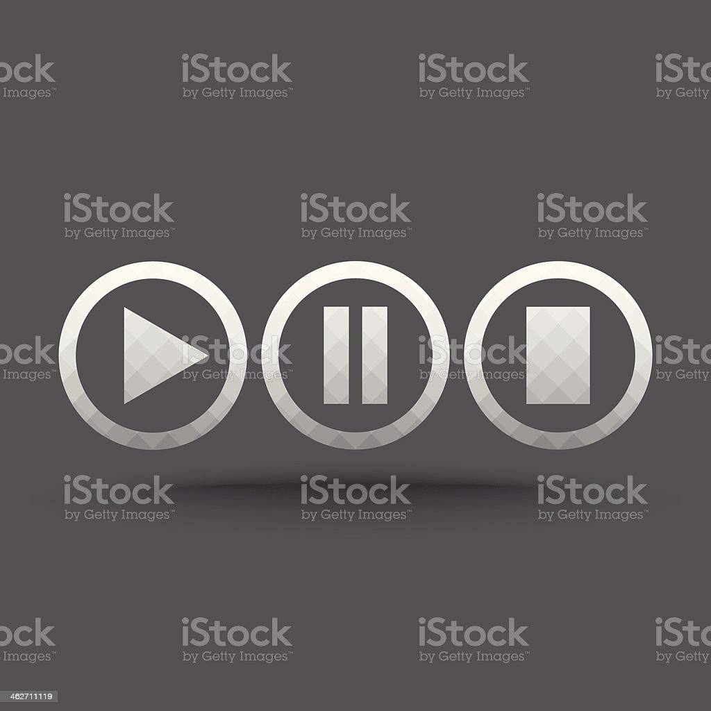 Vector of transparent play, pause and stop button icon vector art illustration