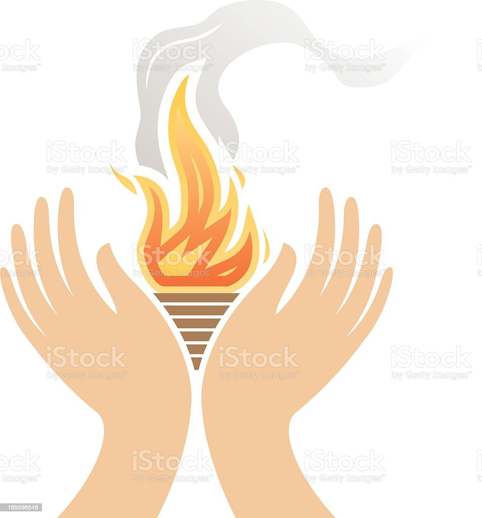Vector of warming hands in front of an open flame vector art illustration