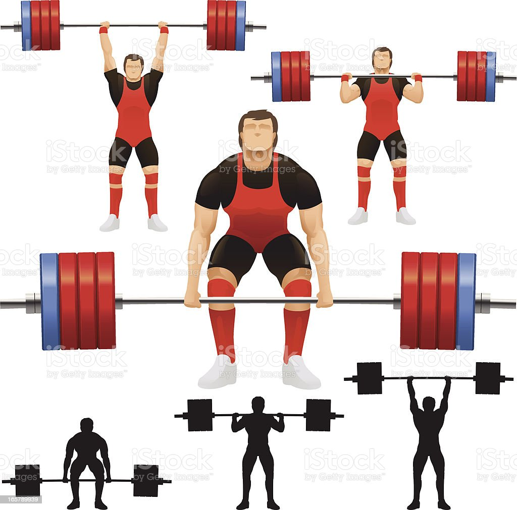 Vector of weight lifters with weights vector art illustration