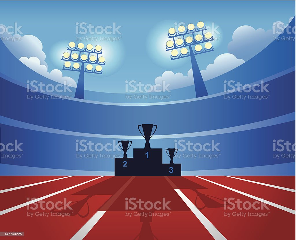 Vector of winners' podium in stadium with lights vector art illustration
