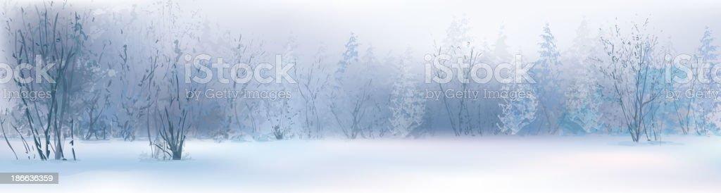 Vector of winter landscape, snowy forest. vector art illustration