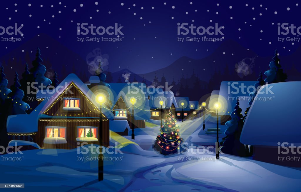 Vector of winter landscape.Merry Christmas! stock photo