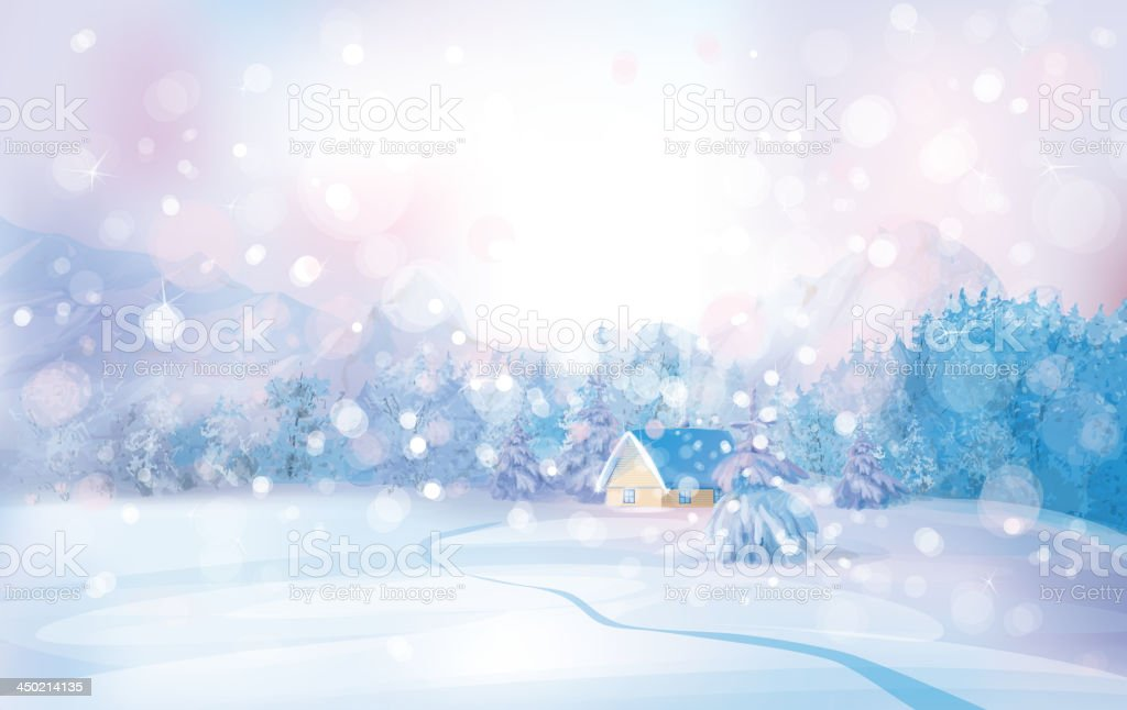 Vector of winter snowy landscape with lonely house in forest. royalty-free stock vector art