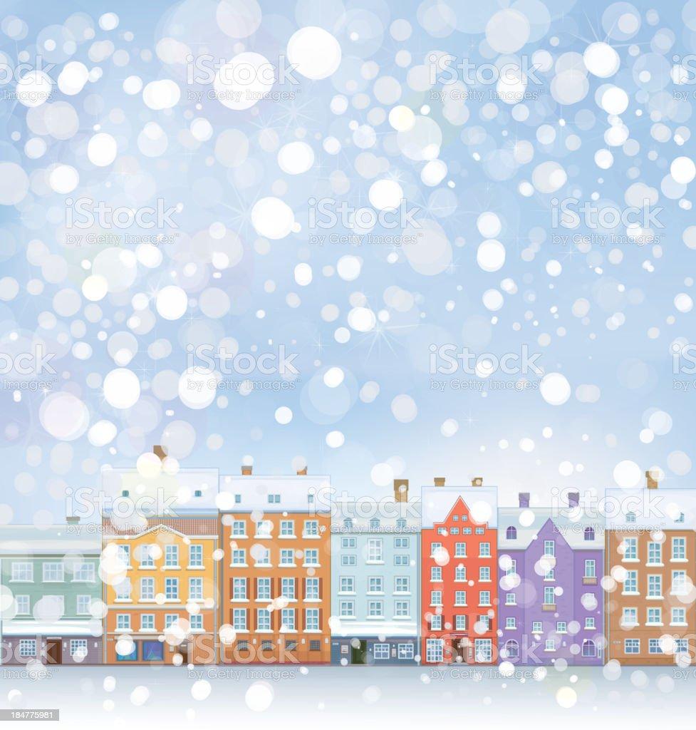 Vector of winter wonderland cityscape. vector art illustration