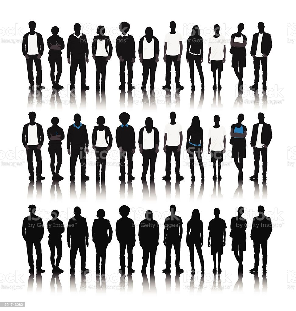 Vector of World People in a Row vector art illustration