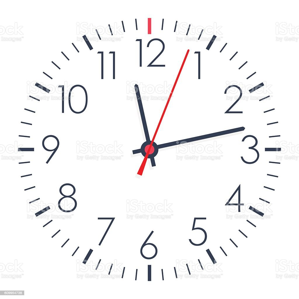 Vector office clock on white background vector art illustration