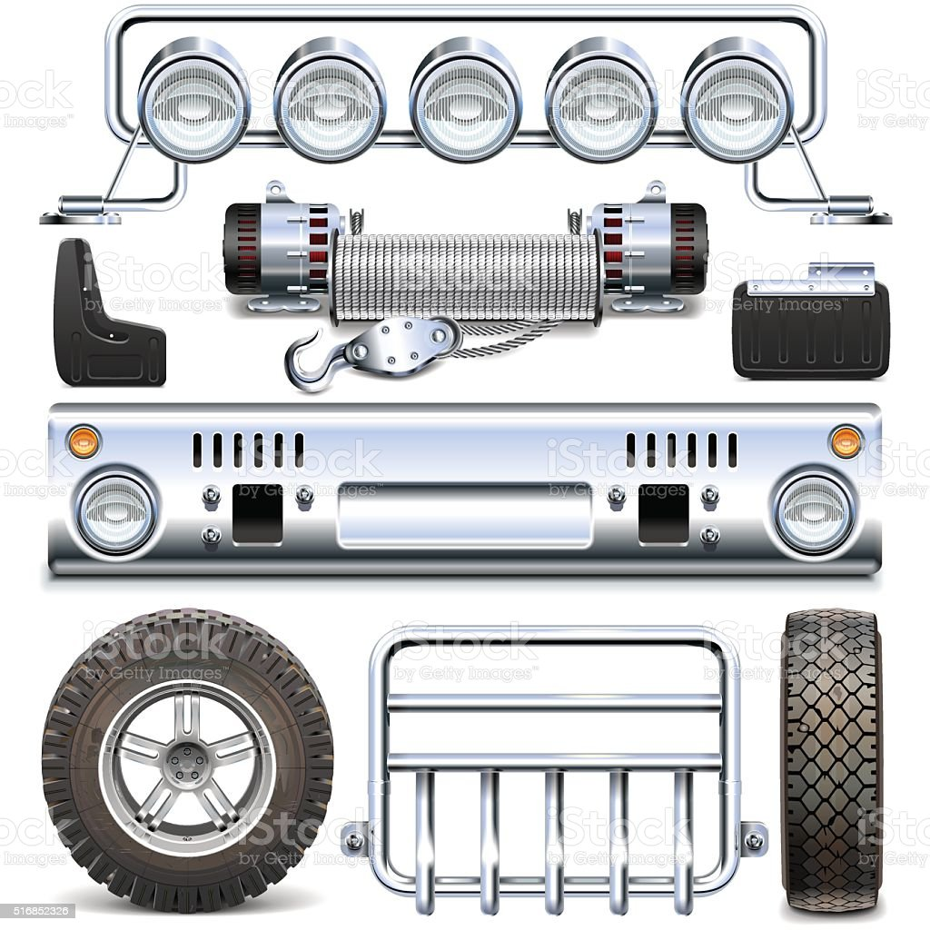 Vector Offroad Car Spares vector art illustration