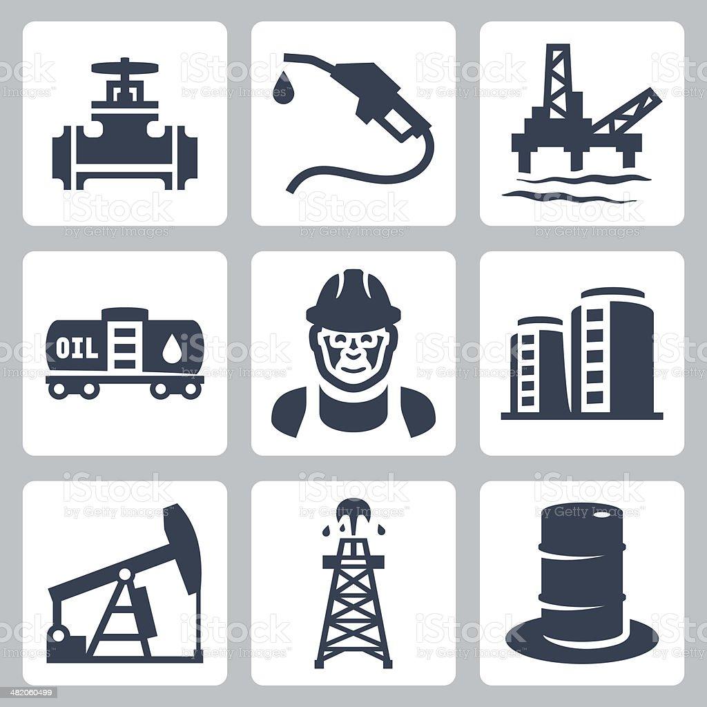 Vector oil industry icons set vector art illustration