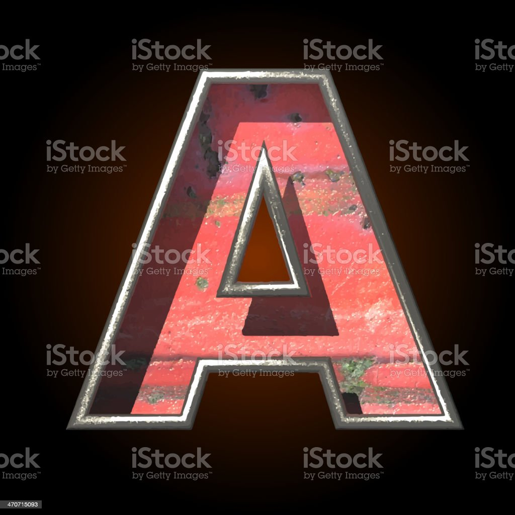 Vector old metal letter a royalty-free stock vector art