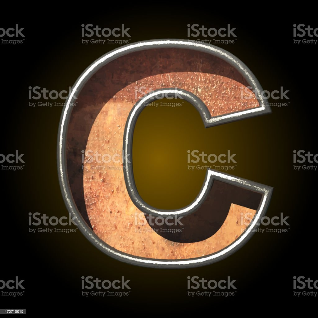 Vector old metal letter c royalty-free stock vector art