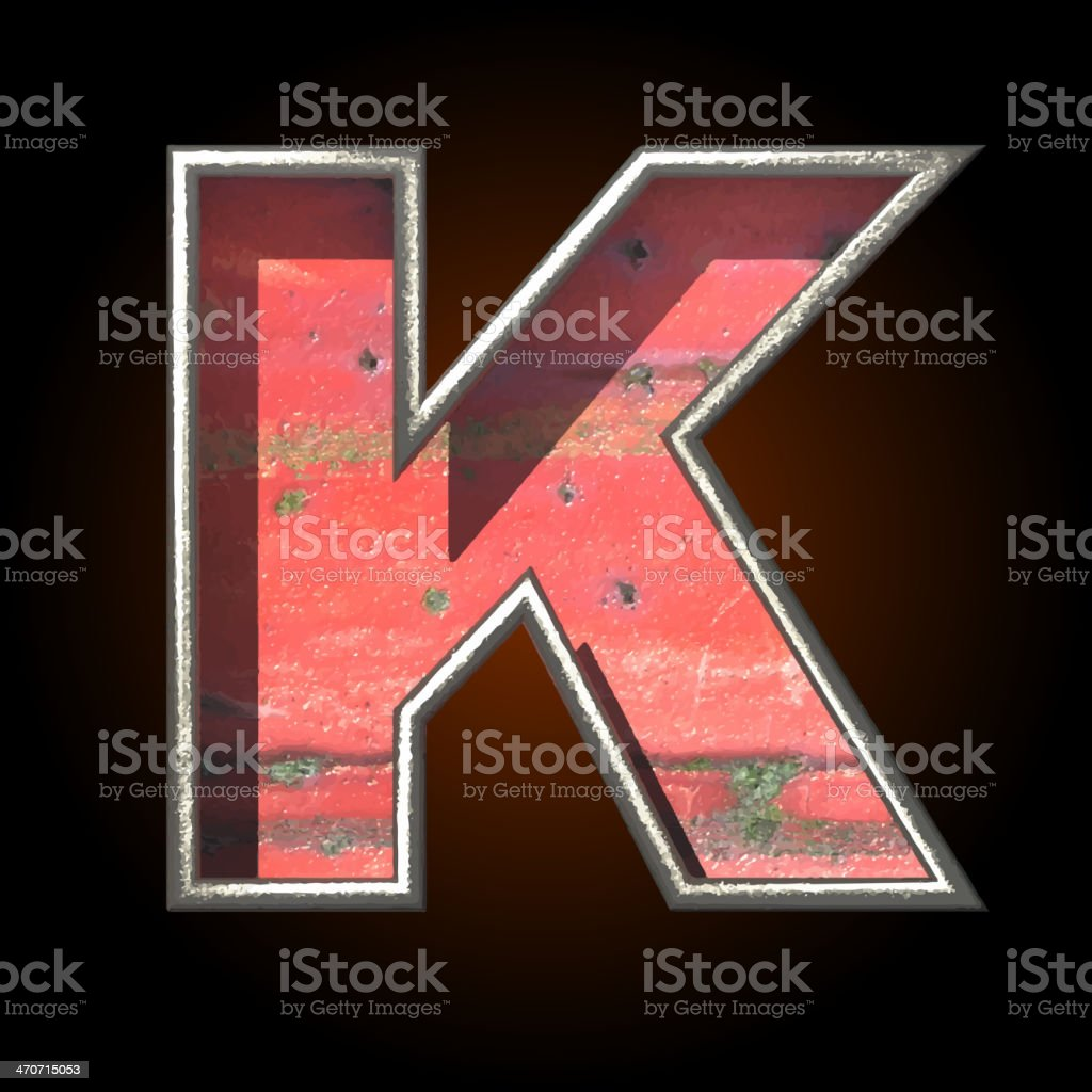 Vector old metal letter k royalty-free stock vector art