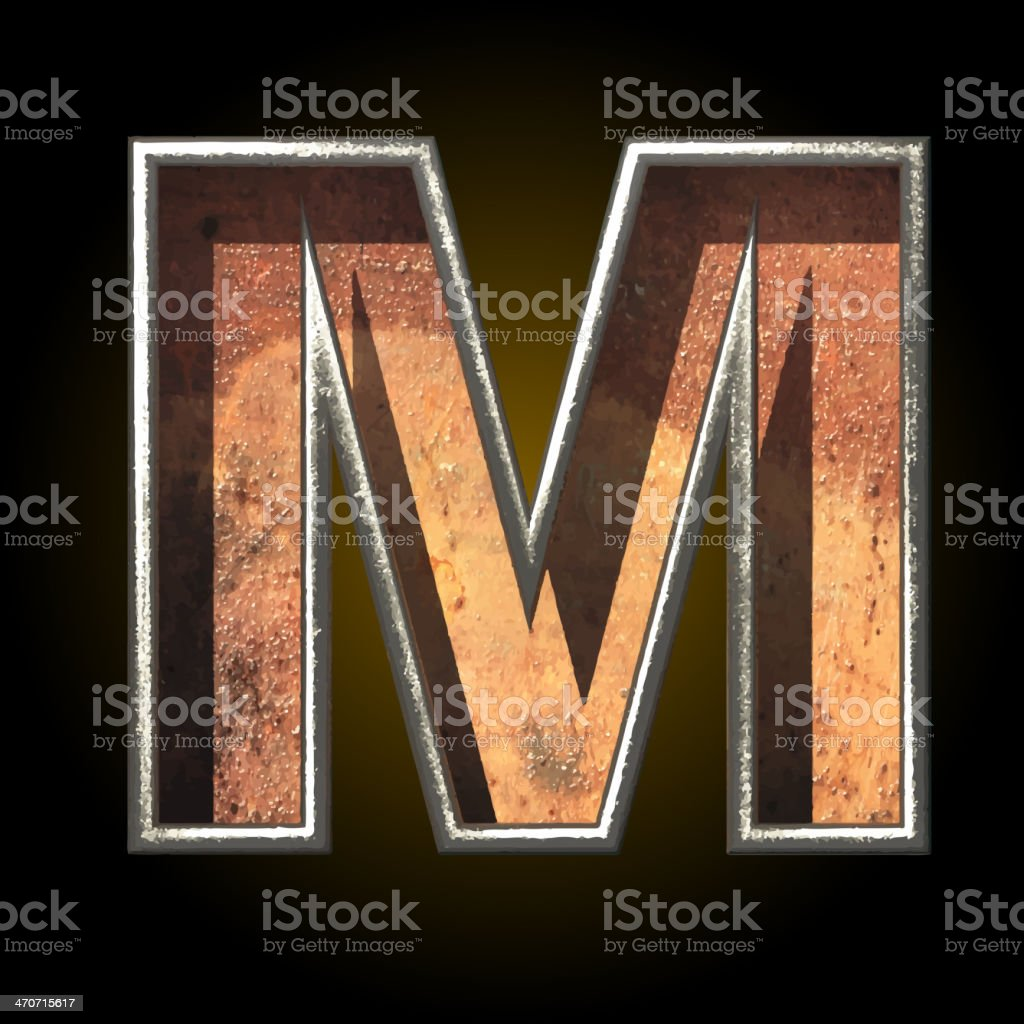 Vector old metal letter m royalty-free stock vector art