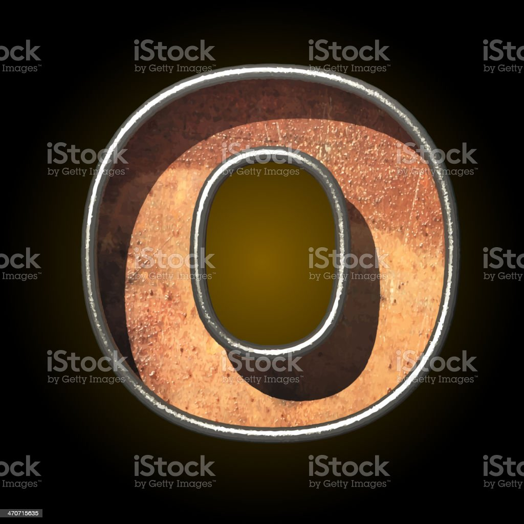 Vector old metal letter o royalty-free stock vector art