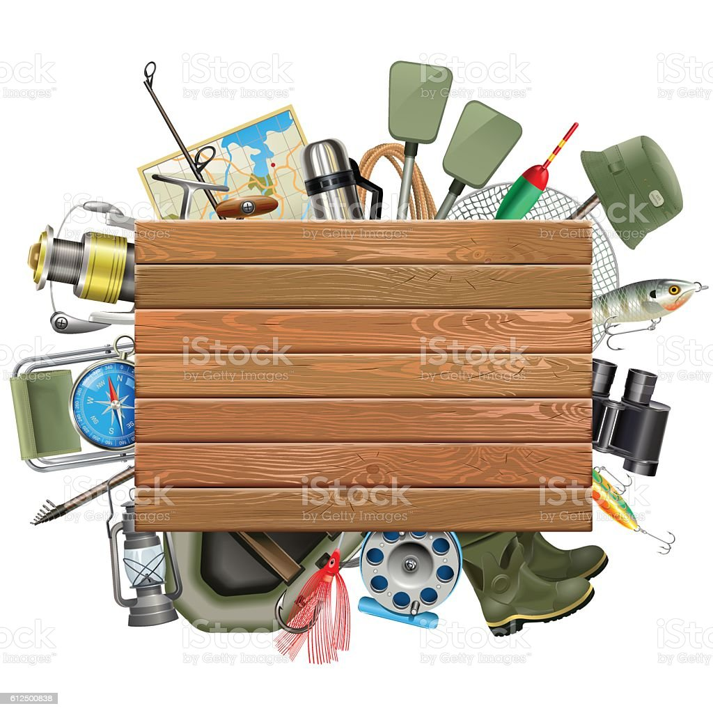 Vector Old Wooden Board with Fishing Tackle vector art illustration