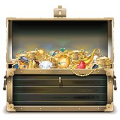 Vector Old Wooden Chest with Gold