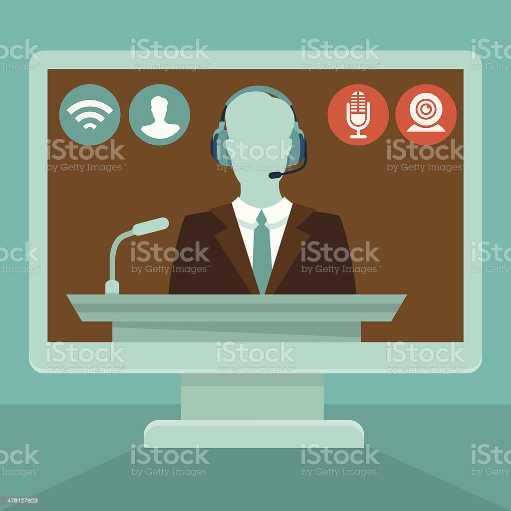 Vector online conference concept in flat style vector art illustration