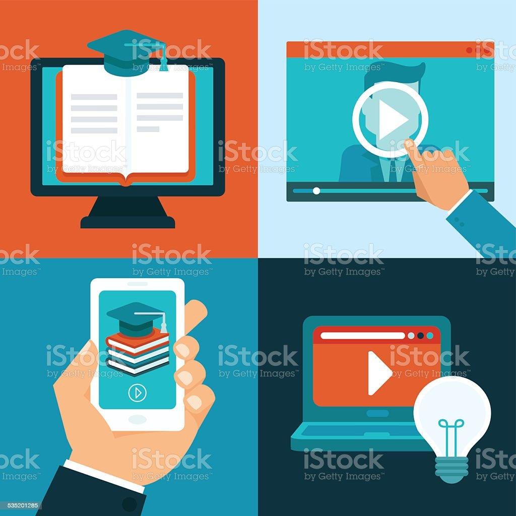 Vector online education concepts vector art illustration
