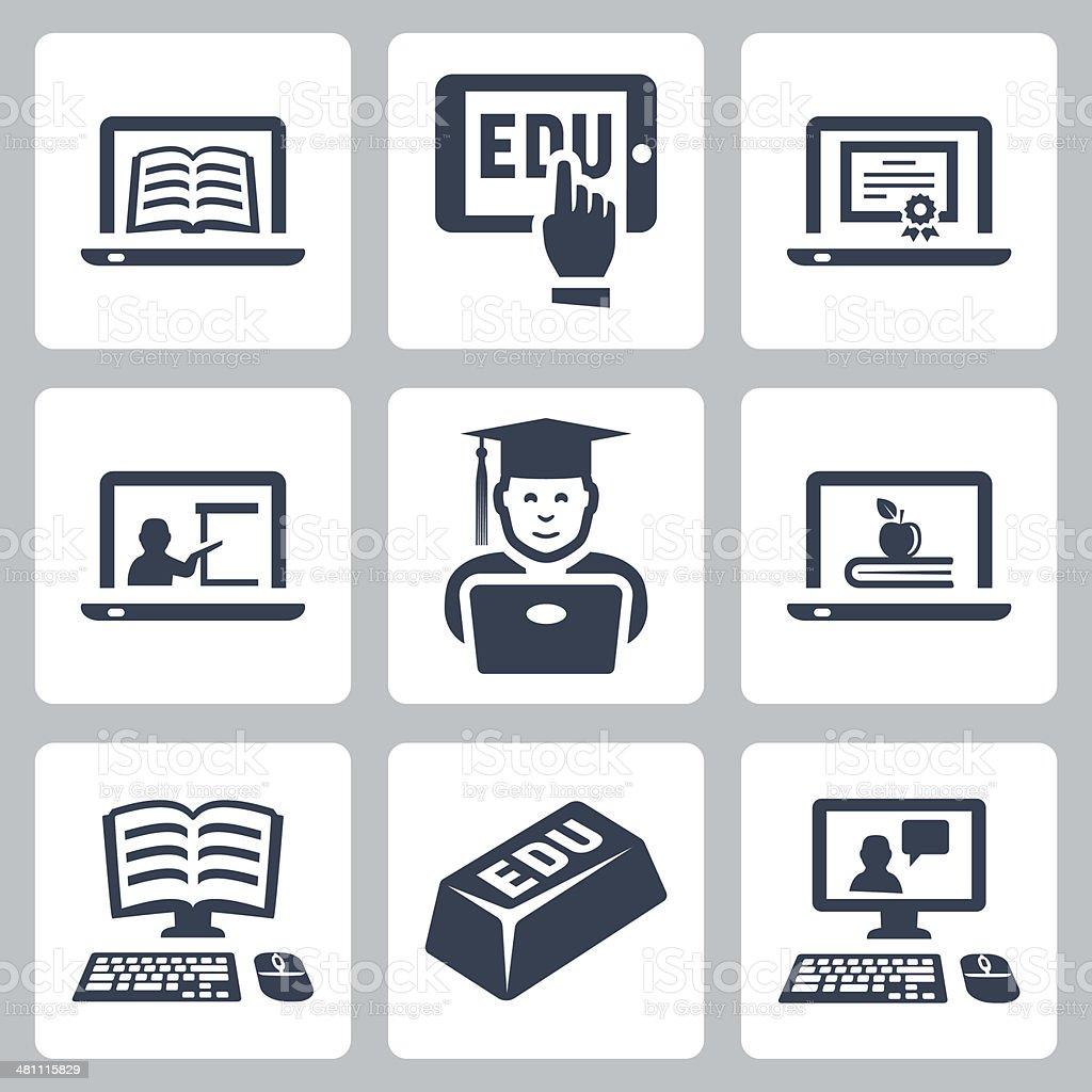 Vector online education icons set vector art illustration