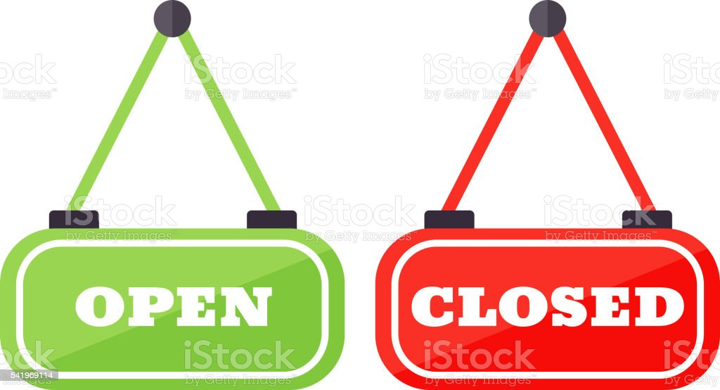 Vector open and close sign. vector art illustration