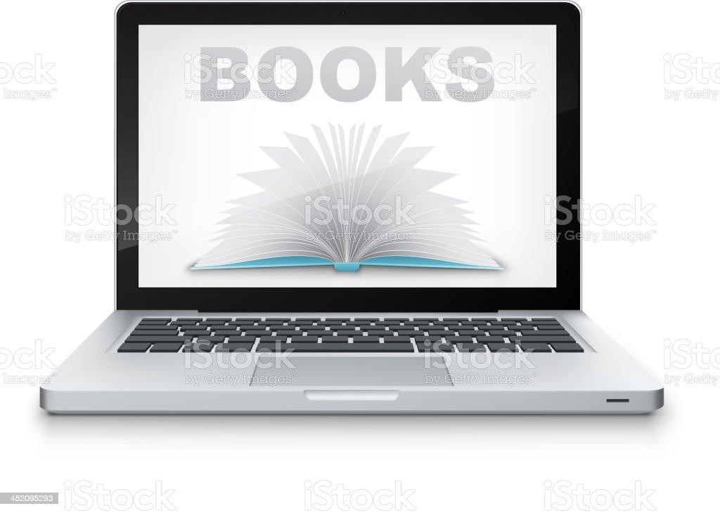 Vector Open Book in Laptop. royalty-free stock vector art