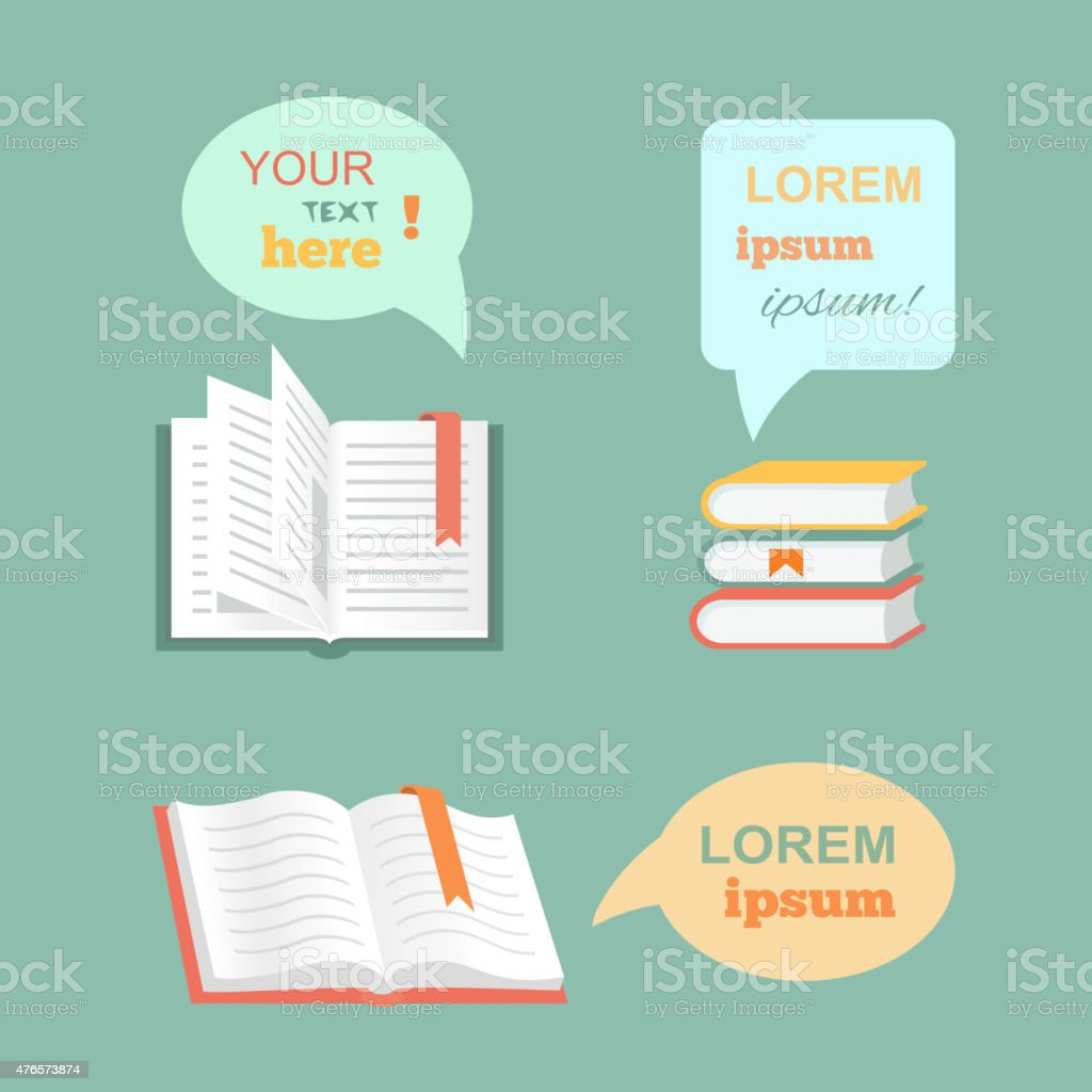 Vector open  book with speech bubbles clouds in flat design vector art illustration