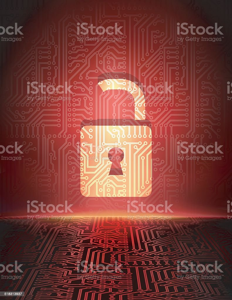 Vector opened padlock in cyber space vector art illustration