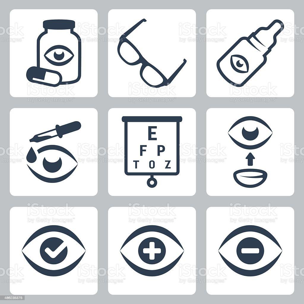 Vector optometry icons set vector art illustration
