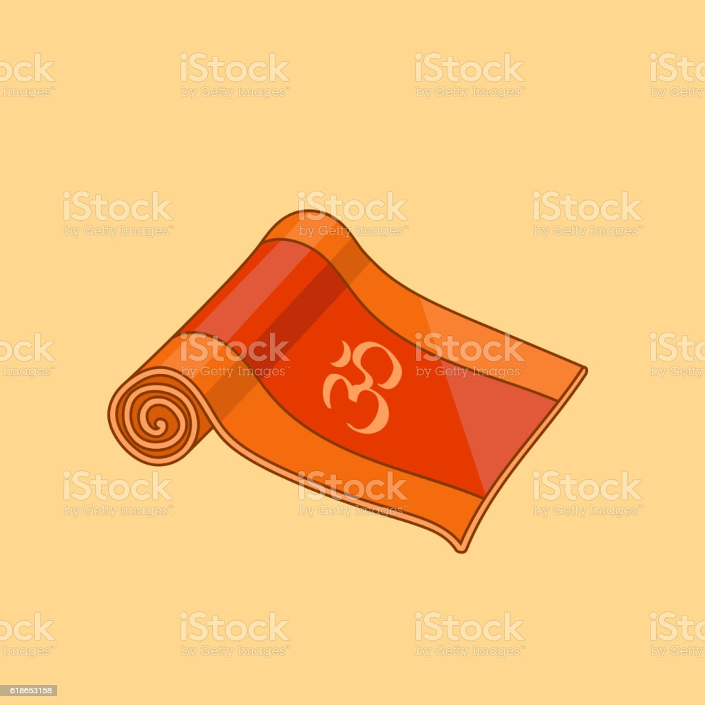 Vector orange cartoon yoga mat vector art illustration