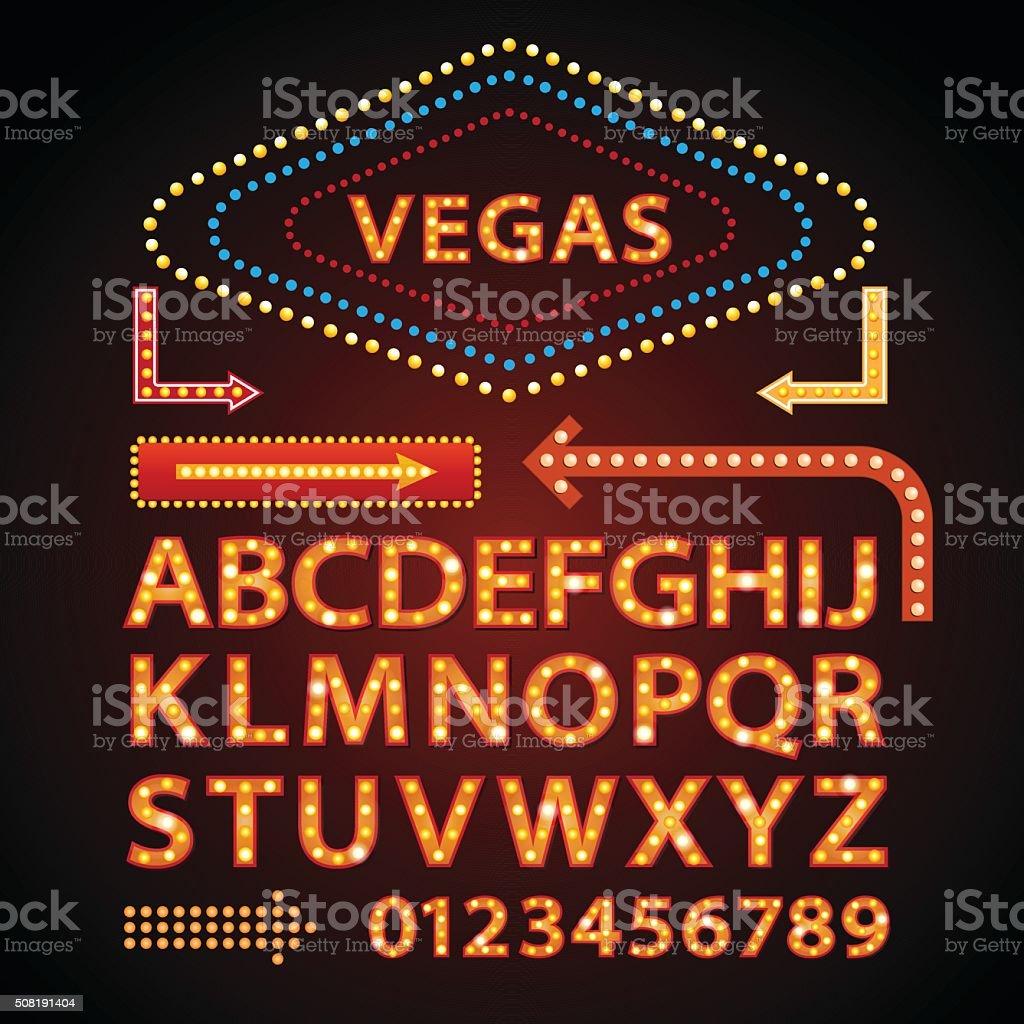 Vector orange neon lamp letters font show vegas light sign vector art illustration