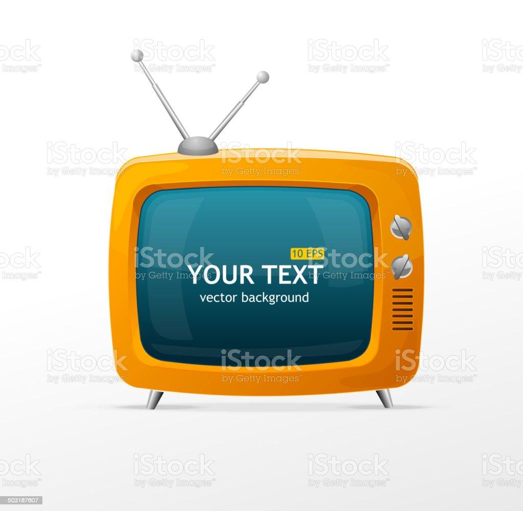 Vector orange retro TV vector art illustration